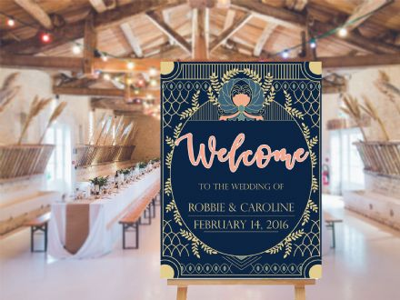 Wedding Welcome  Art Deco -  Extra Large  Metal Wall Sign